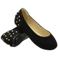 Kids Ballet Flats Back Metal Studded Suede Casual Comfort Slip On Shoes Black cute adorable little girls shoes