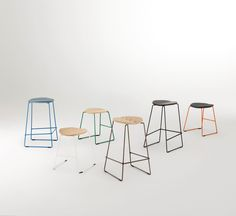 The Duet stool features a gently radiused curve to the timber, upholstered or HDPE seat on a slender base for both indoors and outdoors. Low Stool, School Colors, Outdoor Settings, Color Inspiration, Bar Stools, Upholstery, Lounge, Indoor, Kitchen