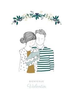 Looking for an original and delicate poster for your childrens room? - Elodie Montigny - - Looking for an original and delicate poster for your childrens room? Family Sketch, Family Drawing, Family Illustration, Portrait Illustration, Baby Embroidery, Embroidery Patterns, Mom Dad Baby, Buch Design, Polychromos
