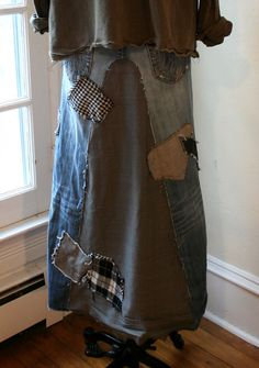Custom Jeans Skirt / Bohemian Clothing / by BreatheAgainClothing, $145.00