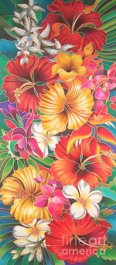 Fiji Islands Painting - Fiji Flowers III by Maria Rova Tropical Flowers, Tropical Art, Hawaiian Flowers, Tropical Design, Hawaiian Art, Hawaiian Tattoo, Vintage Hawaiian, Hawaiianisches Tattoo, Tattoos