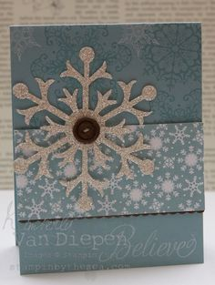 Everything is snowflakes in this quick & easy card by Kimberly! Snowflake Soiree, Snow Flurry die with Silver Glimmer paper, & Snow Festival dsp.