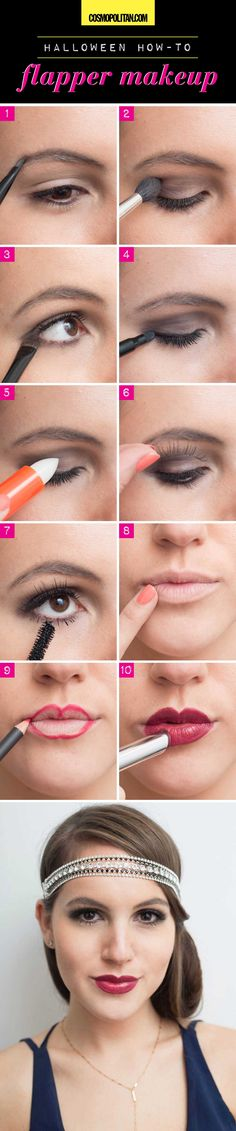 FLAPPER MAKEUP: Use a matte black eye shadow on eyelids to create this sultry look. Then create the classic flapper lip look by using concealer to hide the natural shape of your lips, followed by applying red liner to make an exaggerated cupids bow. Read the rest of the steps here!