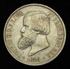 Brazilian Empire coins 2000 Reis Silver Coin of 1888, Emperor Dom Pedro II