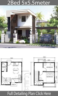 Small Home Design Plan With 2 Bedrooms Small House Micro House Plans, Small House Floor Plans, Modern House Plans, Modern Houses, Simple House Design, House Front Design, Modern House Design, Small Home Design, House Layout Plans
