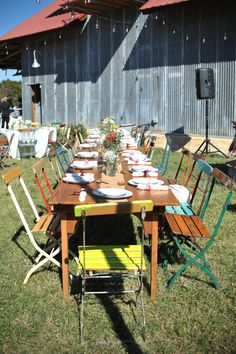Colorful Lawn Chairs and Farmhouse Tables| Vintage - Rustic Autumn Ranch Wedding |Photographer: Eureka Photography