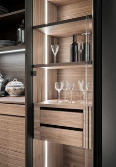 Kitchen Furniture, Kitchen Interior, Home Interior Design, Furniture Design, Wine Cabinets, Kitchen Cabinetry, Pantry Inspiration, Modern Kitchen Design, Kitchen Designs