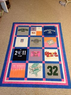 Memory quilt for my niece-helped my mom. My nieces mom passed suddenly. These were her moms tshirts.