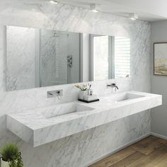 CARRARA - Carrara marble washbasin / double / wall-mounted / rectangular by Riluxa Double Sink Bathroom, Double Sink Vanity, White Bathroom, Small Bathroom, Cozy Bathroom, Bathrooms, Sink Vanity Unit, Bathroom Sink Vanity, Carrara
