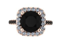 Halo Black and White Diamond Engagement Ring Wedding Ring 14K Rose Gold with 8mm Round Black Diamond Center - V1090 on Etsy, $1,745.00