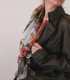 Hand painted silk scarf | silk shawl | fall 2016 | autumn color scarf | handpainted silk shawl | trench coat | fall fashion | brown and autumn colors