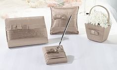 Taupe Silk Bow Wedding Accessories Collection from http://weddingfavoursboutique.co.uk