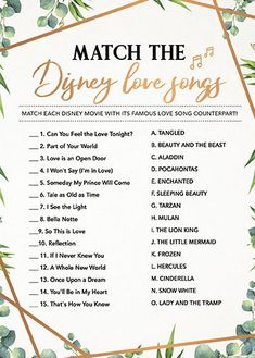 Match the Disney Song, Bridal Shower Games Printables, Bridal Shower Game Idea, Bridal Shower. Bridal Shower Decorations, Bridal Shower Favors, Bridal Shower Invitations, Wedding Decoration, Garden Bridal Showers, Disney Bridal Showers, Wedding Showers, Disney Wedding Shower, Baby Showers