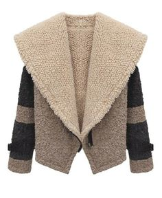 Big Lapel Contrast Color Lambswool #coat  #jacket #clothing #fall2013 #leather #winter  #shopping #wishlist #fashion #cozy #chic