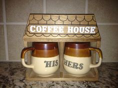 Vintage His Hers Coffee Mugs with a coffee by sunnysunshine33, $19.99