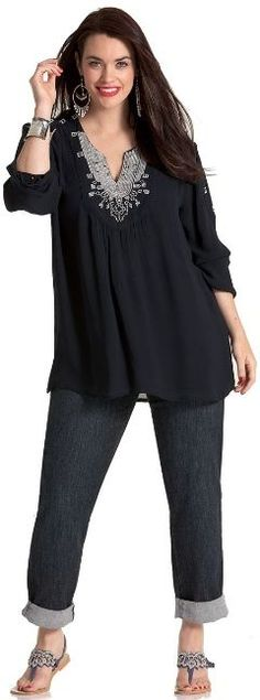 MONSOON ROMANTIC TOP - Long Sleeved - My Size, Plus Sized Women's Fashion & Clothing.....love this whole outfit! Love the top!!