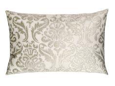 Versailles Large Rectangle Pillow White Linen / Ice Silver Velvet (20 x 30) L273ARWS-V