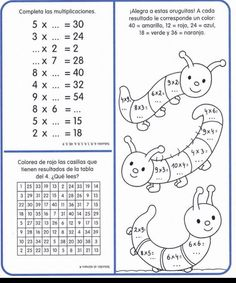 Cuaderno tablas de multiplicar (24) Multiplication Facts Worksheets, 1st Grade Worksheets, Math Facts, 4th Grade Math, Math Class, Dyslexia Activities, Math Sheets, Holidays Around The World, Learning Time