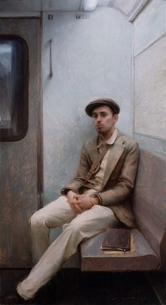 """Jeremy Lipking (1975-)  Portrait of the Artist J. Todorovitch  Oil    101.6 x 60.96 cm  (3' 4"""" x 24"""")  Private collection"""