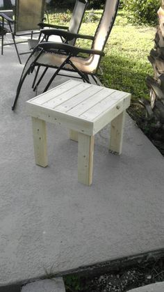 Brand new beautifully hand crafted side patio or indoor end table made from solid 2x4 wood. It measures 19 T x 19 W x 19 D The table is not
