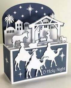 Nativity Christmas Card In A Box 3D SVG Boxed Christmas Cards, Christmas Card Crafts, Christmas Nativity, Xmas Cards, Holiday Cards, Handmade Christmas, Religious Christmas Cards, Fancy Fold Cards, Folded Cards