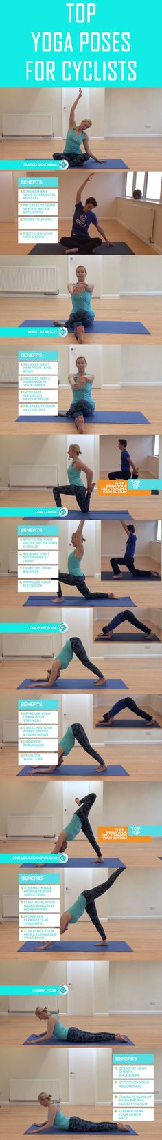 Yoga poses for every cyclist should be doing. #cycling #bike #yoga #yogapose