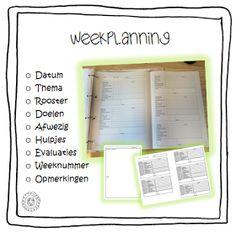 Kleuterjuf in een kleuterklas: Weekplanning