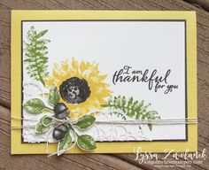 Painted Harvest Class Month Stampin Up Lyssa acorns sunflowers leaf punch