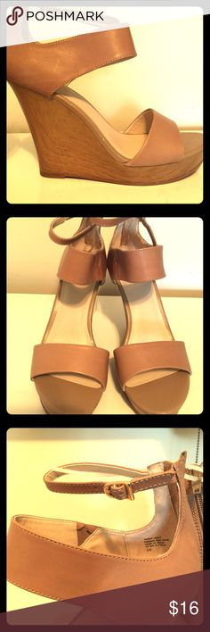Seychelles Platform  Wedge Sandles Brand-new Seychelles platform wedge heel sandals, nude color, gold hardware with two ankle straps, and one strap across the foot Nordstrom's brand, a 4 to 5 inch heel. Seychelles Shoes Platforms