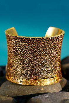 Metallic Gold Genuine Stingray cuff from rusticcuff.com