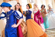Disney cosplay: Cinderella, Bell, Aurora, and Jasmine in historically accurate costumes