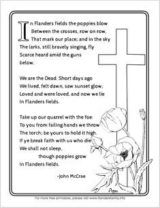 """Free printable """"In Flanders Fields"""" Poem for Veteran's Day from www.flandersfamily.info Remembrance Day Poems, Remembrance Day Activities, Veterans Day Activities, Veterans Day Poem, Free Veterans Day, Grade 1 Lesson Plan, Lesson Plans, Animals Name List, Memorial Day Coloring Pages"""