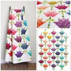 Ombre Flower Bouquet by V and Co. from Purple Daisies Quilting Dainty, fun blooms make this quilt perfect for any lover of flowers. The Ombre Bloom fabric is the perfect choice for making your own Ombre Flower Bouquet. Materials needed: Jellyroll Quilts, Patchwork Quilting, Scrappy Quilts, Crazy Quilting, Modern Quilting, Quilt Modern, Crazy Patchwork, Quilting Projects, Quilting Designs