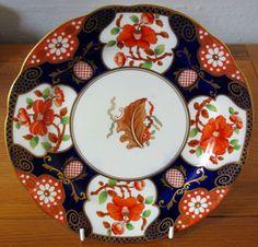 Vintage-Bone-China-Aynsley-Gilded-Cabinet-Plate-Cake-Plate-9-034-A3536-Imari-Style