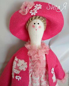 Купить Кукла тильда Леди в розовом Текстильная кукла Розовый, белый - розовый цвет