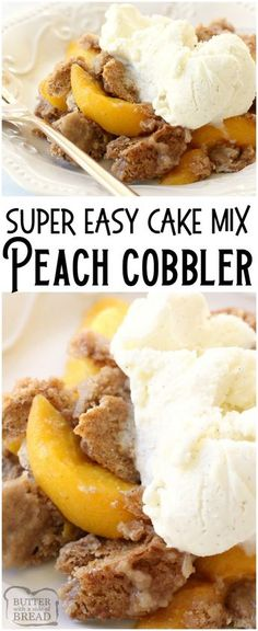 Peach Cobbler with Cake Mix could not be any simpler to make! All it takes is a … Peach Cobbler with Cake Mix could not be any simpler to make! All it takes is a cake mix + peaches + a can of soda + cinnamon. Delicious and easy peach cobbler recipe! Cake Mix Peach Cobbler, Fruit Cobbler, Peach Cake, Peach Bread, Canned Peach Cobbler Recipe, Cake Mix Recipes, Fruit Recipes, Baking Recipes, Dessert Recipes