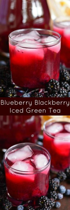 Blueberry Blackberry Iced Green Tea. Refreshing, aromatic ICED GREEN TEA made with fresh blueberries and blackberries. This iced tea had the best mild berry flavor from the addition of an easy homemade blueberry-blackberry syrup. #icedtea #drink #greentea #blueberry