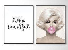 Marilyn Monroe print Hello beautiful wall art set of 2 prints, Marilyn Monroe Bubble gum printable art, pink gum, make up, fashion print by S4StarSbySiSSy on Etsy https://www.etsy.com/ca/listing/483874789/marilyn-monroe-print-hello-beautiful