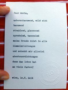 Sag mir ein Wort und ich schreib dir ein Gedicht. Wortfachgeschaeft @ Heuer am Karlsplatz. Inspirationswort: Freude