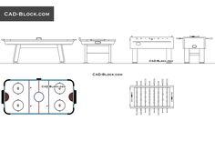 High-quality AutoCAD blocks of a modern football table and air Hockey table for active games in the DWG format. The blocks are presented in plan and elevation views. Cad Blocks Free, Table Football, Air Hockey, Cad Drawing, Table Games, Autocad, Cad File, How To Plan, Drawings