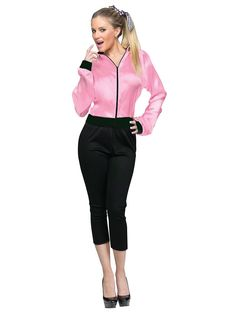 Go retro with a classic 50s style jacket. The Pink Satin Lady Jacket features a screen print back.