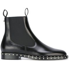 Valentino Garavani 'Rockstud' Chelsea boots ($1,345) ❤ liked on Polyvore featuring shoes, boots, ankle booties, black, black ankle booties, black leather booties, valentino boots, leather ankle booties and almond toe booties
