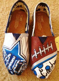 Custom Painted Dallas Cowboys Toms by fornamessake on Etsy Painted Toms, Custom Painted Shoes, Hand Painted Shoes, Custom Shoes, Dallas Cowboys Outfits, Dallas Cowboys Pictures, Cowboy Shoes, How Bout Them Cowboys, Black Toms