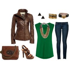 Brown Leather Jacket by erika-watson on Polyvore