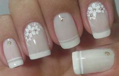 Unhas Decoradas para Casamento Noivas e Convidadas French Nails, Diy Nails, Cute Nails, Classic Nails, Diy Nail Designs, Beautiful Nail Designs, Easy Nail Art, Simple Nails, Manicure And Pedicure