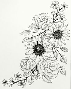 Super Blumen Tattoo Skizze Sonnenblumen 60 Ideen - Super Blumen Tattoo Skizze S. - Super Blumen Tattoo Skizze Sonnenblumen 60 Ideen – Super Blumen Tattoo Skizze Sonnenblumen 60 Id - Rose Tattoos, Leg Tattoos, Body Art Tattoos, Sleeve Tattoos, Tattoo Hip, Flower Thigh Tattoos, Drawing Tattoos, Tatoos, Side Of Thigh Tattoo