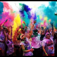 Happy Color Runners! this is about the only way i would join a race lol