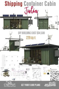 Cute Small House Floor Plans (A-Frame Homes, Cabins, Cottages, Containers Read about dangers of living in a shipping container! Shipping containers made out of solid metal act pretty close as Faraday cage shielding inside from the electromagnetic fields. Small Cabin Plans, Small House Floor Plans, The Plan, Container Home Designs, Shipping Container House Plans, Shipping Containers, Cute Small Houses, Tiny Houses, Guest Houses