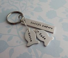 Daddy's Keepers Fishing Key Chain / Hand Stamped Key Chain for Him / Grandfather Key Chain / Father's Day Gift by kimgilbert3 on Etsy