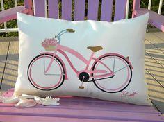 Outdoor pillow beach cruiser by Crabby Chris Lumbar Pillow, Throw Pillows, Color Me Mine, Retro Bike, I Love The Beach, Beach Girls, Coastal Decor, Alter, Pretty In Pink
